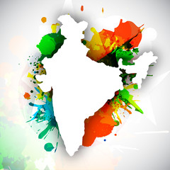 Republic of India map on national flag colors grunge background.