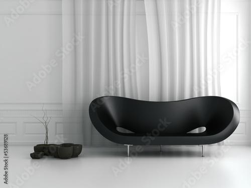 Weißer Barock Raum mit Design Couch und Deko
