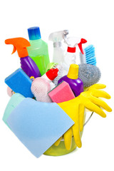 full box of cleaning supplies and gloves
