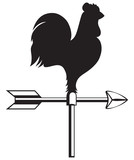 Rooster weather vane isolated on white background