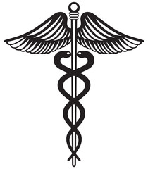 Symbol medical caduceus isolated on white background