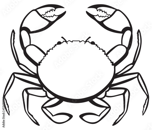 Silhouette crab isolated on white background