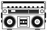 Retro ghetto blaster isolated on white background