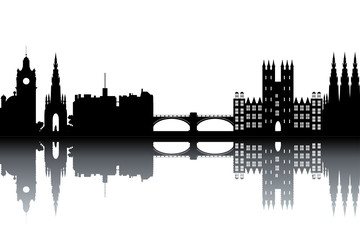 Edinburgh skyline - black and white vector illustration