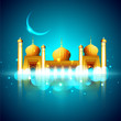 View of golden Mosque in shiny moonlight night on blue backgroun