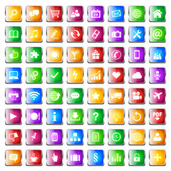 Button Icon Set Quadratisch Bunt