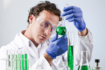 science professional in green chemical laboratory