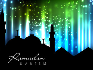 Silhouettes of Mosque on shiny abstract background for Ramadan K