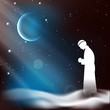Muslim man in traditional outfits praying (reading Namaz, Islami
