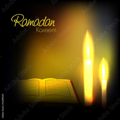 Ramadan Kareem background with open Islamic religious holy book