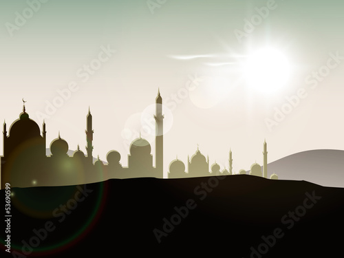 View of mosque on day background for Ramadan Kareem.