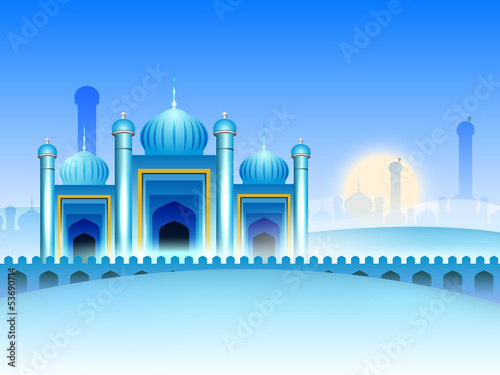 Shiny view of Mosque background for Ramadan Kareem.