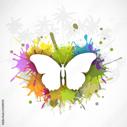 Butterfly on grungy colorful abstract background, concept for Su