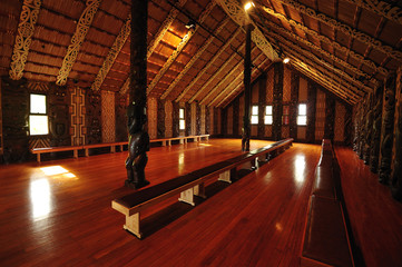Inside the Maori tribal meeting house