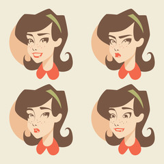 Retro girl / emotions icons