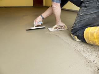 Baustellen Bauarbeiten Zement auftragen