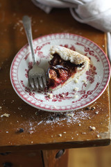 Piece of fig and raspberry french galette or pie