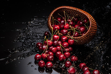 cherry falling from basket