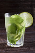 Mojitos with mint leaves, lime and ice