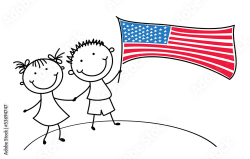 Children with american flag on 4th of July