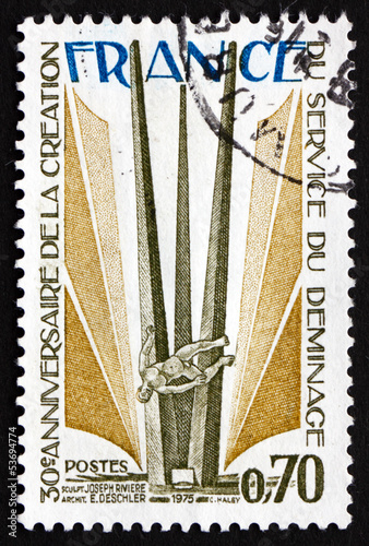 Postage stamp France 1975 shows Monument, by Joseph Riviere