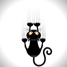 Kot kreskówka zarysowania czarny kot na ścianie ściana zarysowania