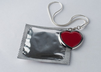 Condom with chain and heart