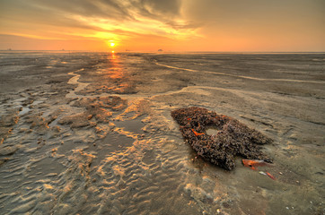 Sunset at the beach during low tide