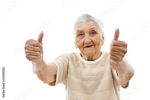 old lady with thumbs up