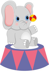 Baby circus elephant with ball