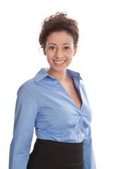 Portrait Geschäftsfrau lachend mit blauer Bluse isoliert