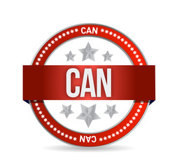 can on red rubber stamp illustration