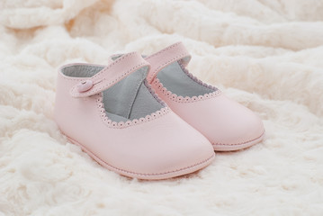 Leather shoes pink of baby