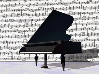 Musical notes around grand piano - 3D render