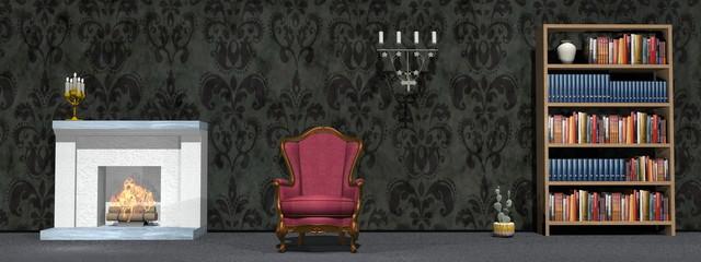 Classic study room - 3D render