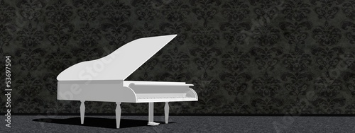 White grand piano - 3D render