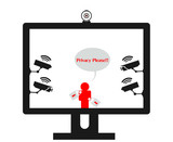 Online privacy violation surveillance cameras