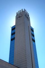 Clocktower of Riga's Railroad Station. Riga, Latvia