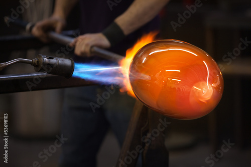Blowtorch Flames on Glass