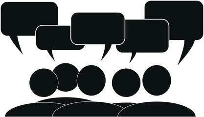 Piktogramm Gruppe mit Sprechblasen