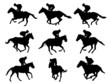 racing horses and jockeys silhouettes - vector