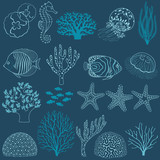 Underwater life design elements