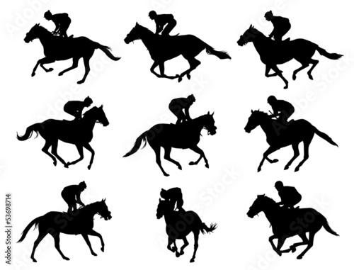 Fototapeta racing horses and jockeys silhouettes - vector