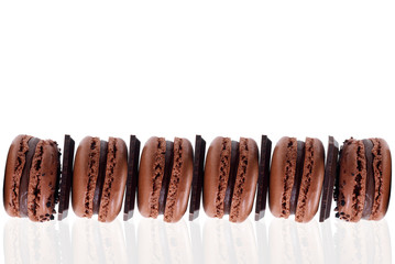 Close-up of chocolate macarons
