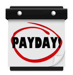 Payday Word Circled Wall Calendar Page