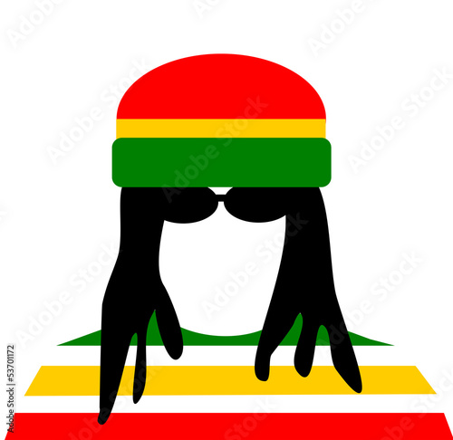 man with dreadlocks wearing rastafarian outfit
