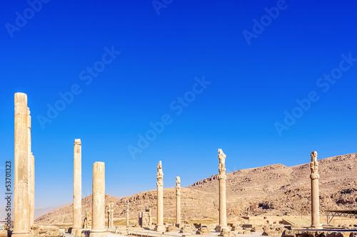 Ruins of Apadana palace in Persepolis, Shiraz, Iran.