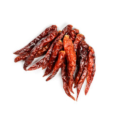 Dried Hot Pepper isolated on white background