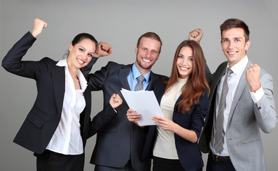 Business team on grey background