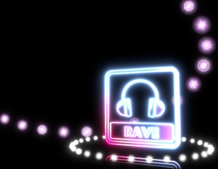 Illustration of a glowing rave sign  on disco lights background